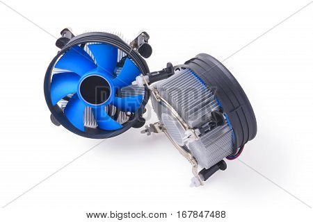 two CPU fan with aluminum radiator on a white background front and back
