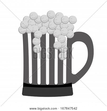 grayscale glass beer icon image design, vector illustration