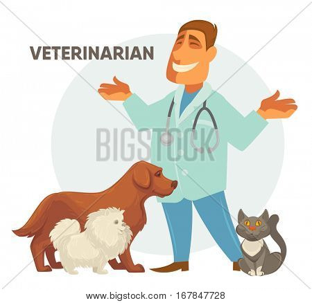Smiling Male veterinarian. Vector illustration of a veterinarian with a cute puppy dog and cat .