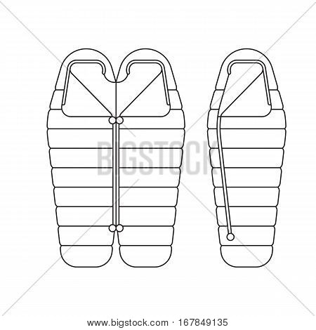 Sleeping bag spread out and ready to use. Packed in a roll and compressed by the bag. Vector illustration outline, isolated on white background.