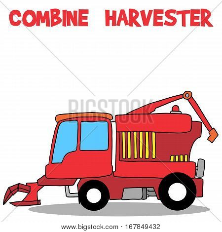 Combine harvester of transportation collection vector art