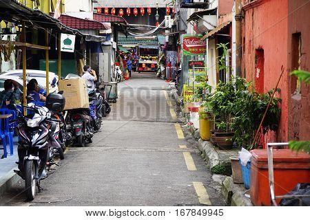 KUALA LUMPUR, JANUARY 20, 2017 - Street scene in China Town, famous landmark of KL, Malaysia