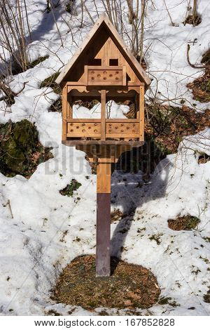 Shelter for tit and bird in winter, birdhouse covered snow and snowflakes in forest, wintertime in garden, trees and birdhouse hanging on the branch.