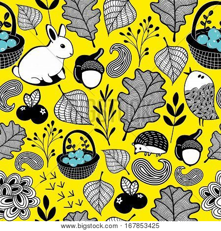 Endless background with autumn leaves and forest animals.