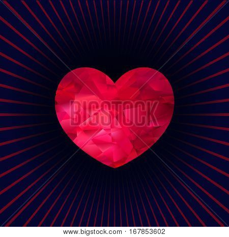 Faceted red three-dimensional heart on a dark background with rays, vector background for your design