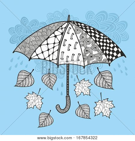 Umbrella and autumn falling leaves. Vetor doodle print.