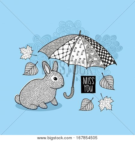 Little rabbit and autumn rain illustration. Black and white print for coloring.