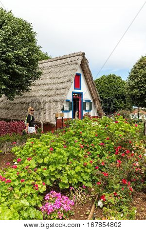 MADEIRA, PORTUGAL - SEPTEMBER 9, 2016: Traditional rural house in Santana on Madeira island Portugal
