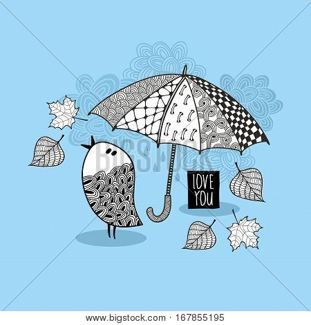 Black and white print for coloring. Vector illustration of doodle bird and umbrella.
