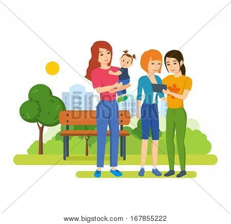 Young people with gadgets concept. Girls watching photos, share with each other information and comments, next standing mother holding in her arms little girl. Vector illustration.
