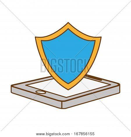 color shield smartphone hosting icon image, vecto illustration