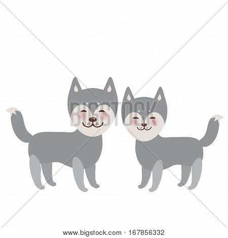 Kawaii funny gray husky dog face with large eyes and pink cheeks boy and girl isolated on white background. Vector illustration