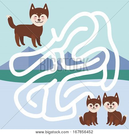 Kawaii funny brown husky dog face with large eyes and pink cheeks boy and girl mountain landscape background. labyrinth game for Preschool Children. Vector illustration
