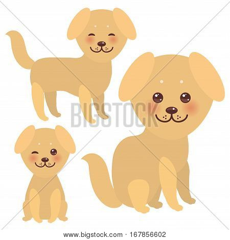 Set Kawaii funny golden beige dog face with large eyes and pink cheeks isolated on white background. Vector illustration