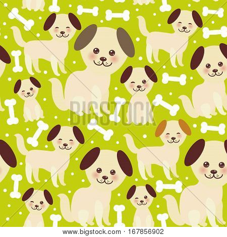 seamless pattern funny golden beige dog and white bones Kawaii face with large eyes and pink cheeks brown ears boy and girl on green background. Vector illustration