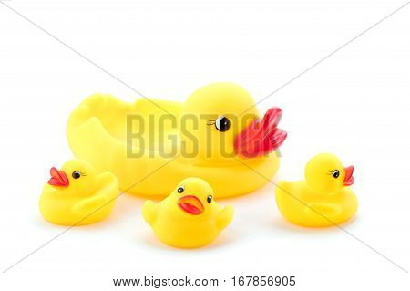 Group of rubber ducks yellow next to each other