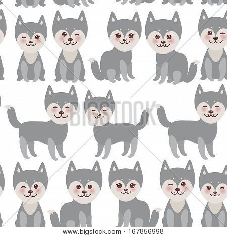 seamless pattern Kawaii funny gray husky dog face with large eyes and pink cheeks boy and girl isolated on white background. Vector illustration