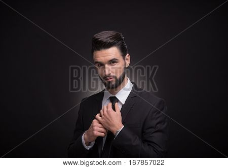 Young Man Necktie Tie A Knot Hands