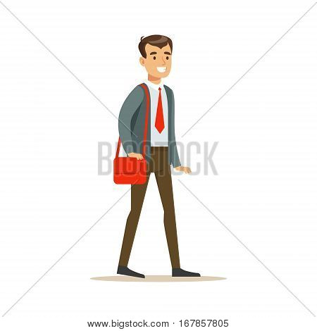 Man In Jacket And Tie Going To Work With Handbag, Part Of Office Workers Series Of Cartoon Characters In Official Clothing. Happy Person Working In The Office Vector Illustration.