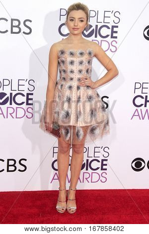 LOS ANGELES - JAN 18:  Peyton List at the People's Choice Awards 2017 at Microsoft Theater on January 18, 2017 in Los Angeles, CA