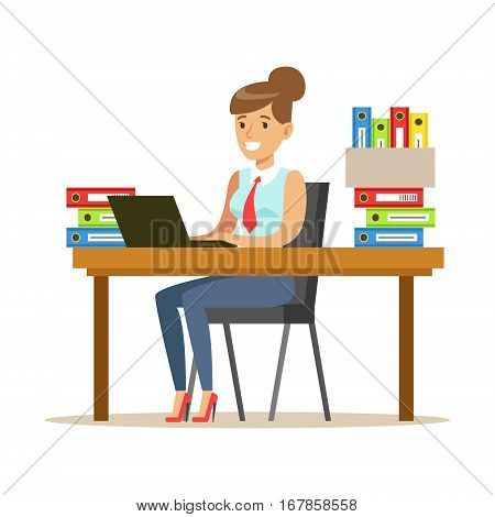 Woman Working At Her Desk With Computer And Folders, Part Of Office Workers Series Of Cartoon Characters In Official Clothing. Happy Person Working In The Office Vector Illustration.