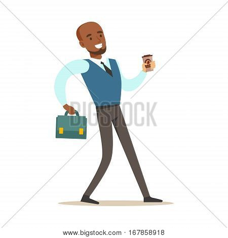 Man With Suitcase And Goffee Cup Going To Work, Part Of Office Workers Series Of Cartoon Characters In Official Clothing. Happy Person Working In The Office Vector Illustration.