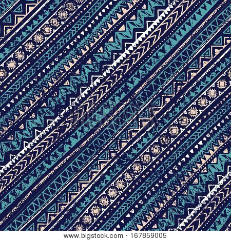Geometric seamless pattern. Vintage print for your textiles. Blue gray and white colors. Diagonal direction. Grungy texture. Ethnic and tribal motifs. Vector illustration.