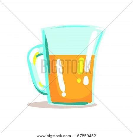 Glass Jug With Fresh Squeezed Orange Juice Drink Cool Style Bright Illustration. Cartoon Detailed Radiant Color Hand Drawn Object Isolated On White Background.