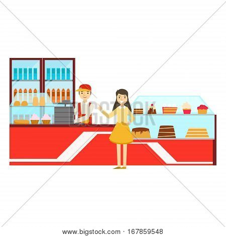 Woman Ordering At The Counter, Smiling Person Having A Dessert In Sweet Pastry Cafe Vector Illustration. Happy Primitive Cartoon Character At Bakery Shop At Lunchtime.