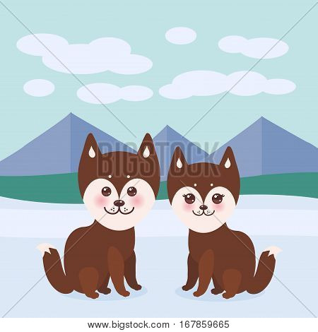 Kawaii funny brown husky dog face with large eyes and pink cheeks boy and girl mountain landscape background. Vector illustration