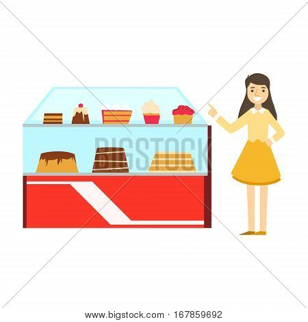 Woman Standing Next To Display Case With Cake Assortment, Smiling Person Having A Dessert In Sweet Pastry Cafe Vector Illustration. Happy Primitive Cartoon Character At Bakery Shop At Lunchtime.