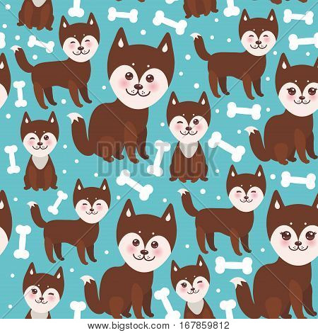seamless pattern funny brown husky dog and white bones Kawaii face with large eyes and pink cheeks boy and girl on blue background. Vector illustration