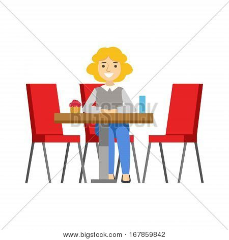 Woman Alone At The Table Eating Cupcake, Smiling Person Having A Dessert In Sweet Pastry Cafe Vector Illustration. Happy Primitive Cartoon Character At Bakery Shop At Lunchtime.