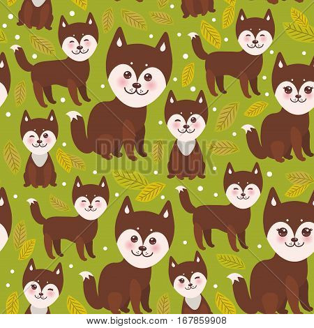 seamless pattern funny brown husky dog and leaves Kawaii face with large eyes and pink cheeks boy and girl on green background. Vector illustration