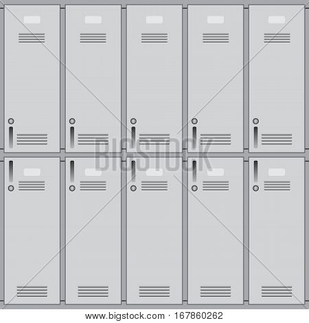 Private school lockers or gym of metal. Background closeup
