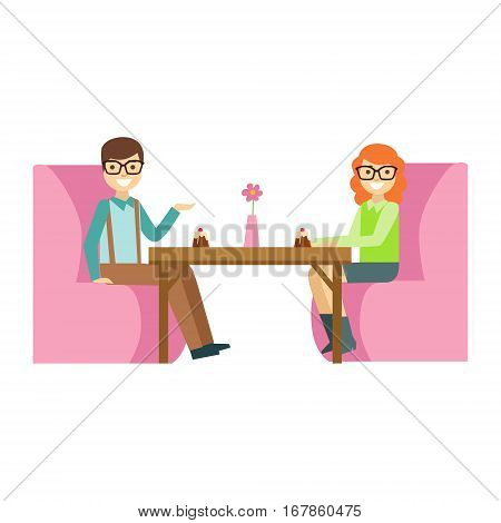 Couple In Glasses On A Date Eating A Cake, Smiling Person Having A Dessert In Sweet Pastry Cafe Vector Illustration. Happy Primitive Cartoon Character At Bakery Shop At Lunchtime.