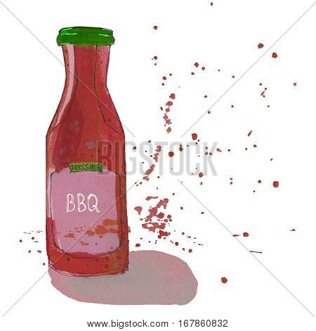 BBQ sauce bottle with watercolor splashes. Barbeque dressing. Sketchy illustration