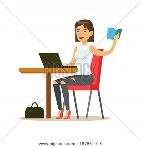 Woman Studying Copying From The Book To Lap Top, Smiling Person In The Library Vector Illustration. Simple Cartoon Drawing With Bookworm People Loving To Read And Study In The Library.