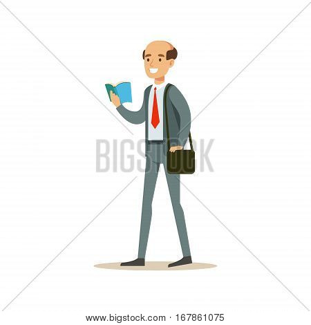 Bold Man Teacher Walking Reading A Book, Smiling Person In The Library Vector Illustration. Simple Cartoon Drawing With Bookworm People Loving To Read And Study In The Library.