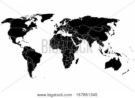 Blank black like a world map on a white background. Monochrome World Map Vector template for website, design, cover, annual reports, infographics. Flat Earth Graph World map illustration.