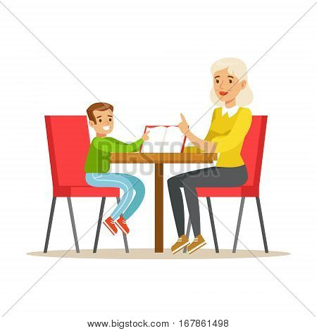 Grandmother And A Boy Reading a Book Together, Smiling Person In The Library Vector Illustration. Simple Cartoon Drawing With Bookworm People Loving To Read And Study In The Library.