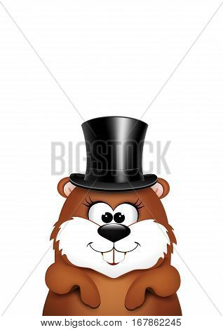 Postcard to Groundhog Day.Marmot on a white background.