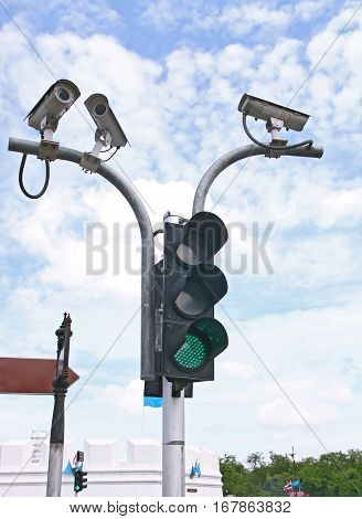 Surveillance Security Camera or CCTV with traffic light