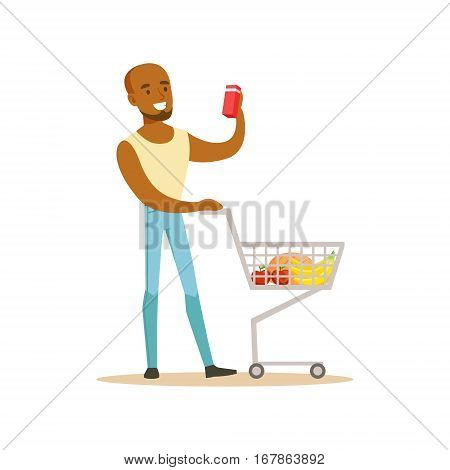 Man With Cart Of Groceres Shopping In Department Store , Cartoon Character Buying Things In The Shop. Colorful Vector Illustration With Happy People In Supermarket.