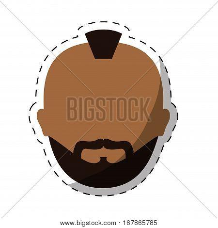 dark skin bearded man with mohawk icon image vector illustration design