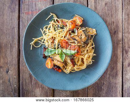 Spaghetti Pasta With Mackerel And Tomato Sauce, Top View