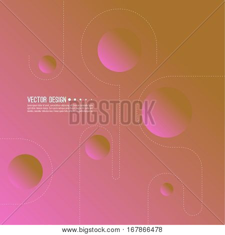 Abstract style. Modern background pattern design with composition of rounded objects and dot lines.  Vector illustration.