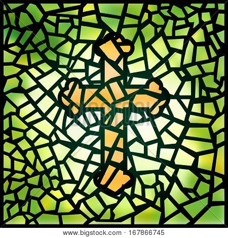 Green stained-glass window with yellow cross, vector illustration. Suns rays penetrating through green colorful stained glass window in the pattern of a crucifix. Luminous glass. Stained glass window.