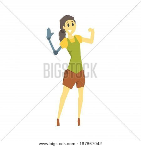 Woman With Prosthetic Arm, Young Person With Disability Overcoming The Injury Living Full Live Vector Illustration. Handicapped Person Happy Cartoon Character.