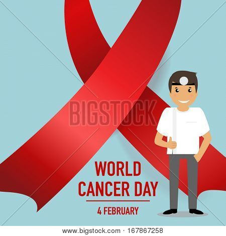 World cancer day. February 4. World cancer day design background with ribbon. Vector Illustration.
